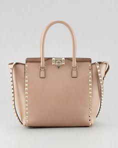 Valentino Women's Valentino Rockstud Double-Handle Shoulder Tote Bag, Tan
