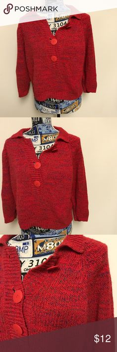 Toi Red quarter sleeve sweater Toi Red quarter sleeve sweater with red buttons toi Sweaters