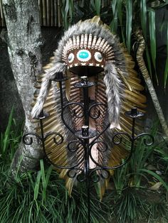 Extra Large Brown Feather Headdress (43 inch long ) Handmade Native Feather Headdress, made with the best materials. The forehead band is