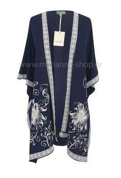 Κιμονό βισκοζ.Κιμονό απο βαμβακερό βισκοζ ύφασμα με λευκό κέντημα.Ελληνική ραφή. Faux Fur, Kimono Top, Blazer, Coat, Jackets, Shopping, Women, Fashion, Down Jackets