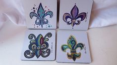 Fleur de Lis Coasters, New Orleans Coasters, Neoprene Coasters, Colorful Coasters, Home Decor,  Gift Idea, Groomsmen Gift, Bridesmaid Gift