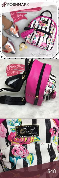 ɴᴡᴏᴛ вeтѕey joнnѕon тιny roѕe вacĸpacĸ pυrѕe NWOT Baby Betsey Johnson backpack. Who doesn't love Betsey? This tiny bag has one main compartment, small front zip compartment, tassel front pull, and adjustable straps with LUV BETSEY on them. Still has the plastic tag loop but the paper tag came off. Perfect for your essentials. Betsey Johnson Bags Mini Bags