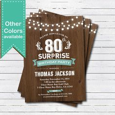 Surprise 80th birthday invitation. Man woman. Rustic by CrazyLime