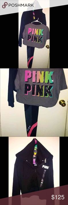 PINK Victoria's Secret BLING set NWT PINK Victoria's Secret Full Set NWT   Cropped full zip with rainbow logo on the hood  Size SMALL  Campus Crew Bling T-Shirt with rainbow/bling logo on back Pocket with black logo on the front. Size SMALL  Pink Flat Leggings with a mesh ankle, pink stripes with silver logo above  Size SMALL  All Run True to Size.   Every PINK Victoria's Secret clothing purchase includes a free  (pink) gift! PINK Victoria's Secret Tops Tees - Short Sleeve