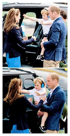 Prince George reaches for his mother The Duchess of Cambridge after being lifted out of a 'Squirrel' helicopter similar to the one that his father The Duke of Cambridge trained on during a visit to the Royal International Air Tattoo at RAF Fairford. July 8, 2016.