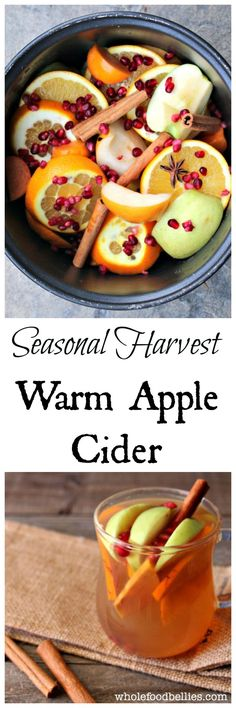 Fall Harvest Hot Apple Cider Pop all the beautiful fresh fruit from the farmers market into the crockpot and warm up with this delicious warm cider Perfect for chilly nights Click the image or link for more smoothie information. Crockpot Apple Cider, Apple Cider Drink, Warm Apple Cider, Thanksgiving Recipes, Holiday Recipes, Christmas Recipes, Ponche Navideno, Yummy Drinks, Yummy Food
