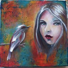 "Mixed media on canvas. 12""x12"", mostly acrylic. By Kelly Thiel  #birds #portrait #faces"