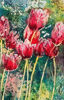 Red Tulips - Linda Virio Encaustic, watercolour batik and watercolour artist Watercolor Artists, Watercolor Paintings, Watercolors, Floral Paintings, Acrylic Flowers, Watercolor Flowers, Watercolor Ideas, Batik Art, Floral Artwork