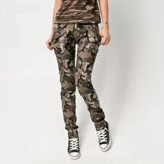 Womens Skinny Army Cargo Camo Combat Trousers Pants Free Postage Pencil Pants | eBay