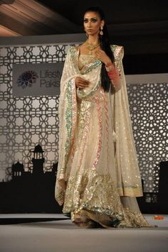Honey Waqar cream and silver outfit  #indianwedding, #southasianwedding, #shaadibazaar