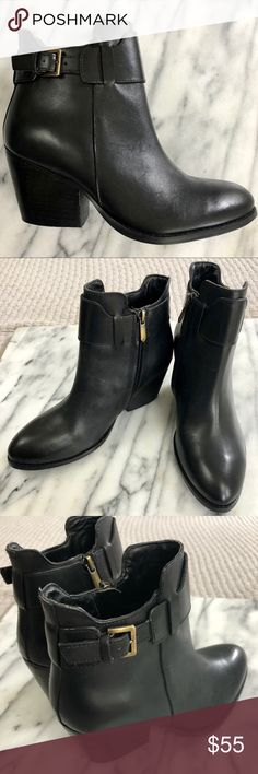 """Sam Edelman Melody Black Ankle Boots 2.5"""" Heel Sam Edelman Melody Black Ankle Boots 2.5"""" Stacked Heel  New without tags or box. Size 6. Ankle boot with zipper and bronze buckle. Stacked 2.5"""" heel. Right heel missing bottom, doesn't affect safety or comfort. Sam Edelman Shoes Ankle Boots & Booties"""