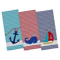 Add a charming touch to your kitchen with this lovely dishtowel with nautical detail.