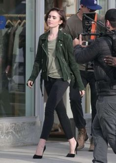 Lily Collins on the set of a Lancome ad -04