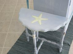 Cottage Chic HalfRound antique table with by dapperdoodledesigns Nautical Furniture, Painted Furniture, Half Table, Cottage Chic, Antique Tables, Dining Table, Hand Painted, Antiques, Handmade Gifts