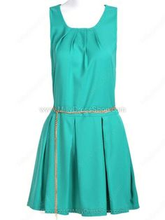 Green Sleeveless Back Zipper Pleated Chain Dress