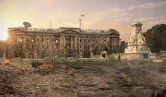 Imagined post-apocalyptic Buckingham Palace, London.