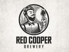 Red Cooper logo design by Arfinat Brand Identity Design, Branding Design, Brewery Design, Coffee Shop Logo, Black And White Stickers, Logo Face, Tree Logos, Logo Restaurant, Lettering