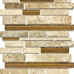 Emperador Light and Glass Mix Moderna Mosaic Tile