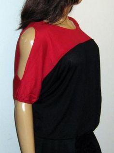 Lane Bryant Black Red Color Block Cold Shoulder Knit Top - NWT - Size 18/20