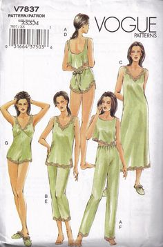 Vogue 7837 Sexy  Lingerie pajamas camisole teddy by PeoplePackages, $12.00