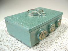 Mid Century Ceramic Box Trinket Holder Art Pottery 1950s on Etsy, $14.50