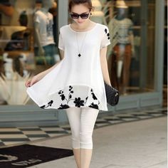 Chiffon Floral Tunic Tops For Women