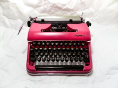 MIAMI PINK Olimpia sm - Vintage -  Portable Manual typewriter - with new ribbon on Etsy, $250.00