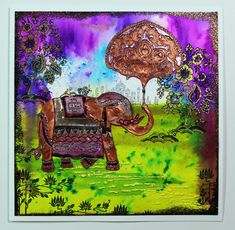Indian Elephant scene card created with stamps from Chocolate Baroque. Beads Direct, Baroque Design, Indian Elephant, Shabby Chic Style, Blank Cards, Paper Flowers, Stamps, Card Making, Greeting Cards