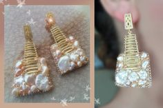 EARRINGS Design by Serena Di Mercione --- beadembroidery - pearls, gold plated elements