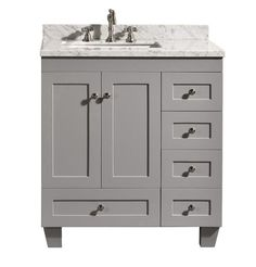 Etonnant Accanto Contemporary 30 Inch Grey Finish Bathroom Vanity Marble Countertop