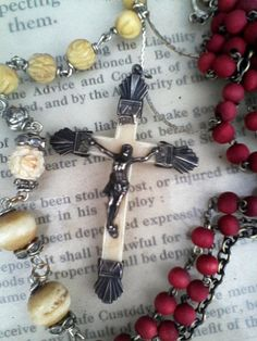 Antique french Rosary necklace Devotional spiritual jewelry Antique Jewelry, Vintage Jewelry, Handmade Jewelry, Red Accessories, Rosary Necklace, Spiritual Jewelry, Rosaries, Crucifix, Our Lady