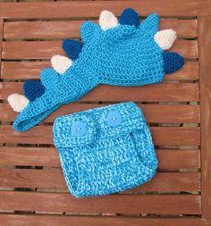 Crochet Dinosaur hat diaper cover.