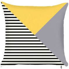 Debage Inc. Spring Retro Vivid Lined Triangle Pattern Throw Pillow (Set of 2) Color: Yellow