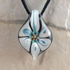 Tropical flower necklace glass beads pendant Handmade custom jewelry Lampwork beads Glass flowers Boro beads on Etsy, $15.00