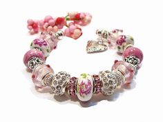 Ceramic Floral and Pink Lampwork Euro Style Cuff by GirlieGals, $38.00