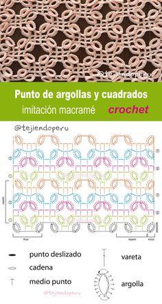 Crochet: punto argollas y cuadrados imitación macramé.  Video tutorial del paso a paso :)