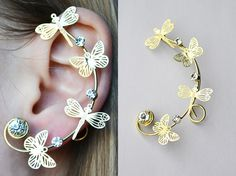 Shop put  favorites, we often have discounts and promotions! Pls, keep an eye on the store! – https://www.etsy.com/ru/shop/EarringsEarcuffs!    I make a gift with every order  :)       Ear-Kaffa insects - bees, butterflies, dragonflies - look very original and bold. These winged creatures are charming and of themselves, but the use of their images in combination with the decorative elements, metals and stones creates a truly luxurious accessories. As this product decoration silhouette was…