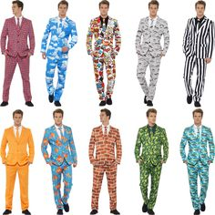 Men's Stand Out Branded Crazy Suits Stag Night Funny Comedy Fancy Dress Costume Stag Fancy Dress, Funny Fancy Dress, Party Suit For Man, Party Suits, Best Man Duties, Best Wedding Speeches, New Comedies, Novelty Print, Blazers For Men