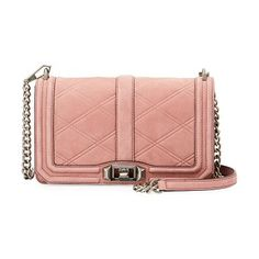 "Love Quilted Nubuck Crossbody Bag by Rebecca Minkoff. Rebecca Minkoff nubuck leather crossbody bag with golden hardware. Removable chain and leather shoulder strap, 22"" drop. Flap top with logo engraved turn-lock closure. Back slip pocket with magnetic closure. Interior, jacquard lining; on... #rebeccaminkoff #bags"