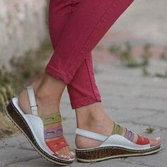 Slip into total comfort and get total support to keep your feet comfortable with these Arch Support Sandals for Women that come in with a beautiful style!These amazing sandals are specially designed wit. Simple Sandals, Wedge Sandals, Summer Sandals, Summer Wedges, Summer Shoes, Supportive Sandals, Womens Slippers, Low Heels, Casual Shoes