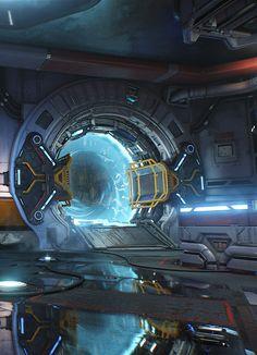 "DOOM: Unto The Evil (MP - by Robert Hodri ""Cataclysm level for the DOOM MP pack. Spaceship Interior, Futuristic Interior, Futuristic Art, Futuristic Technology, Futuristic Architecture, Arte Sci Fi, Sci Fi Art, Cyberpunk City, Sci Fi Ships"