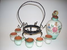 VINTAGE espresso set maybe possibly MEXICAN by COTTAGEGOLD on Etsy, $120.00