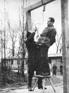 Too good for the evil bastard. Sentenced to death: Rudolf Hoss was hanged for his crimes in April 1947, poignantly using gallows built on his old terror camp Auschwitz