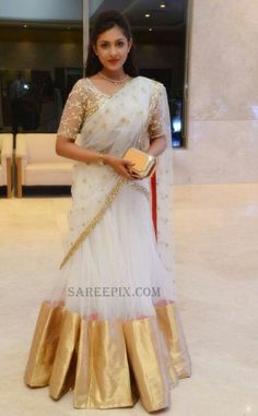 indian wedding guest saree, madhu shalini in half saree, white lehenga% Set Saree, Half Saree Lehenga, Lehenga Saree Design, Anarkali Dress, Indian Designer Outfits, Indian Outfits, Designer Dresses, Designer Sarees, Half Saree Designs