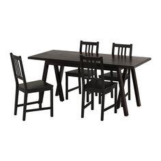IKEA - RYGGESTAD/GREBBESTAD / STEFAN, Bord och 4 stolar, Bordsskivan har förborrade hål för underredet för att göra monteringen enkel.Träkänslan är levande och naturlig, eftersom kvistar och andra märken finns kvar i ytan.