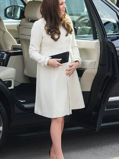 Kate Middleton wearing a JoJo Maman Bebe coat on a visit to the Downton Abbey set at Ealing studios, March 2015.