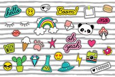 Trendy 80's patches + 10 patterns by Hala on @creativemarket