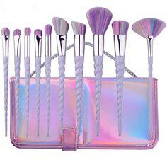 YUMUN®Einhorn Pinsel Set 10 Stück Unicorn Make-Up Lidschatten Mit Tragetasche (Regenbogen-Haar): Amazon.de: Koffer, Rucksäcke & Taschen