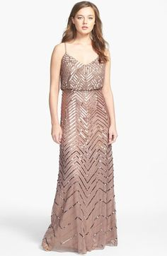 Adrianna Papell Cross Back Sequin Blouson Gown available at #Nordstrom Option for Morlene's Wedding!