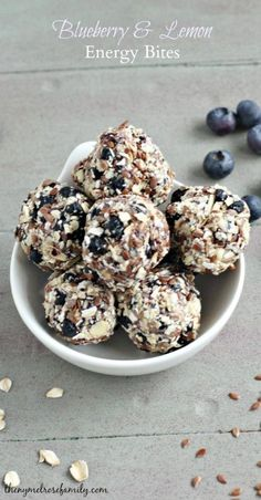 Blueberry and Lemon Energy Bites. Easy healthy on the go snack for after a workout.